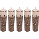 "Craftandcreations Set Of 12 Wax Henna Art Work Candles (8.5""x2"", White)"