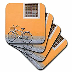 3dRose cst_82122_2 Bicycle Against Orange Wall in Pisa, Italy-Eu16 Mcu0004-Mel Curtis-Soft Coasters, Set of 8