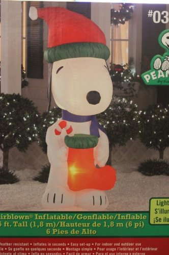 Peanuts Snoopy Holding Stocking 6 Ft. Tall Airblown