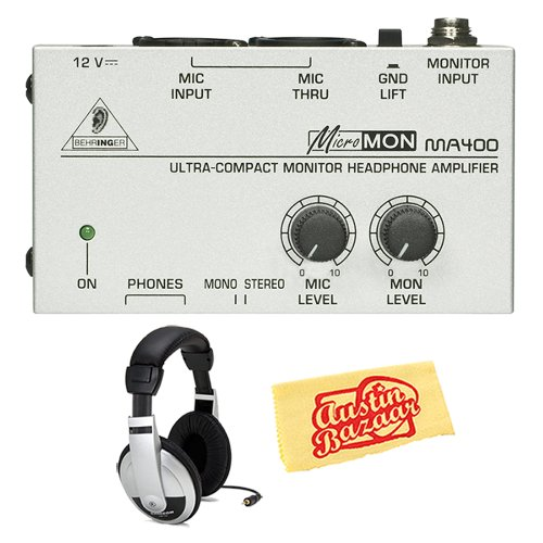 Behringer Ma400 Ultra-Compact Monitor Headphone Amplifier Bundle With Headphones And Polishing Cloth