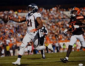 Autographed Aqib Talib Picture - 16x20 Running Against Browns W Auth - JSA Certified - Autographed NFL Photos