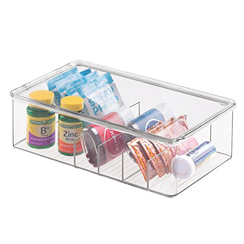 mDesign Storage Box Organizer for Vitamins, Medicine, Medical, Dental Supplies - Divided, Large, Clear (Plastic Shelves Medicine Cabinet compare prices)