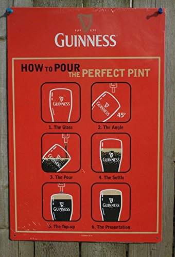 Guinness 12X18 How to Pour the Perfect Pint Metal Beer Sign (Guinness Beer Gifts compare prices)