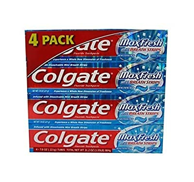 Colgate Max Fresh Gel Toothpaste, Fluoride, Cool Mint, with Mini Breath Strips, 7.8 Ounces