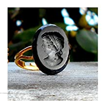 buy Vintage French Jet Black Glass Victorian Revival Cameo Intaglio Mourning Cameo Ring, Goth, On Adjustable Gold Plated Ring.