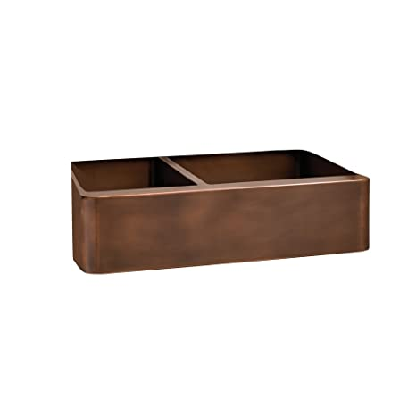 "Barclay FSCDB3546-SAC Otero 33"" Double Bowl Copper Farmer Sink"