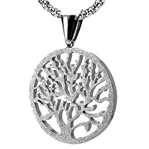 Gorgeous Stainless Steel Tree of Life Circular Pendant With Sandblast Finish. Rolo Chain Is Included in 2 Lengths to Choose (18 Inches)