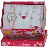 Ravel Children's Jewellery Set: Little Gems Hearts and Flower Watch, Charm Bracelet, Hearts and Flowers Necklace in Presentation Box