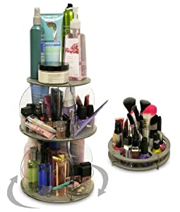 Amazon.com: Cosmetic And Makeup Organizer That Spins... 2nd Piece Fits On Top Or Use Separate. Only 10 Of Countertop. More Than Triples Your Storage