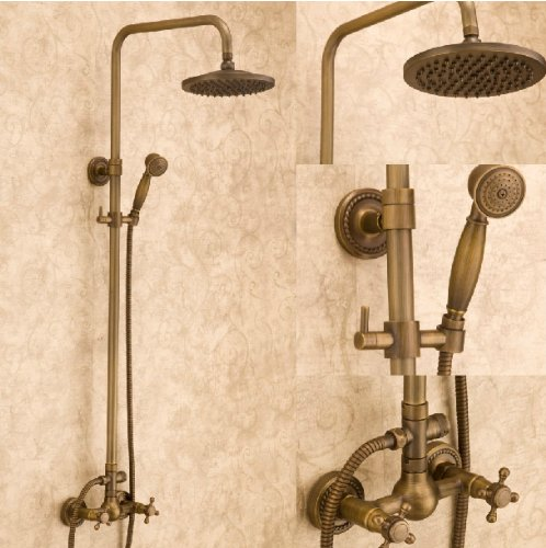 "Antique Brass Bath Shower Mixer Faucet Set 8"" Shower Head + Hand Sprayer front-399356"