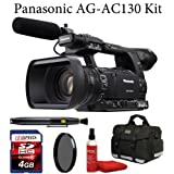 Panasonic AG-AC130 AVCCAM HD Hand-Held Camcorder + Deluxe Case + Air Blower + Lens Cleaning Brush + Sunpak CPL Filter + 4GB Memroy Card