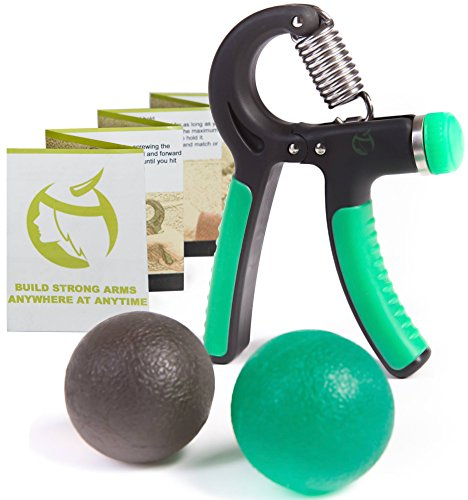Hand Gripper Set - Grip Strengthener Exerciser with Adjustable Resistance 22 to 88 Lbs - Bundle Therapy Exercise Squeeze Ball Kit - Quickly Increase Wrist Forearm and Finger Strength - Amazing Trainer Tool for Crossfit Athletes Musicians Office Workers Kids and Arm Recovery