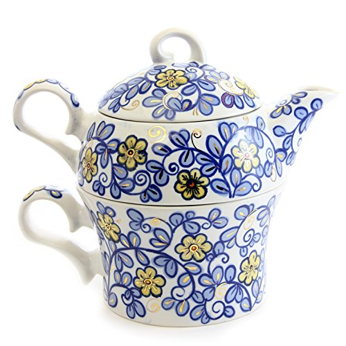 """Exclusive Handmade Porcelain Hand-Painted Tea for One Set """"Blue Flowers"""" 14.5/13.5oz """"The House of Love"""" St Elisabeth Convent Reviews"""
