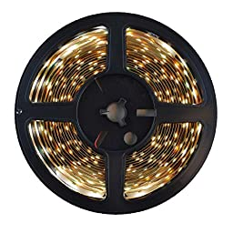 HitLights LED Light Strip - Cool White 5000K SMD 3528 - 300 LEDs, 16.4 Ft Roll - 12V DC - 82 Lumens / 1.5 Watts per Foot - Indoor IP-30 - Adhesive Backed for Easy Installation - LED Tape Light