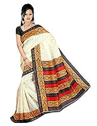 Texclusive Women's Bhagalpuri Silk Designer Saree With Blouse Piece (Multi-Coloured)
