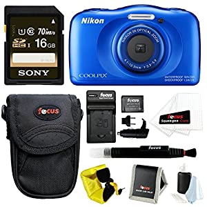 Nikon COOLPIX S33 Waterproof Camera (Blue) with 16GB SD Card & Battery Pack Bundle