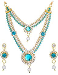 The Luxor Gold Plated Kundan, Pearl & Australian Diamond Studded Sky Blue Colored Necklace Set For Women