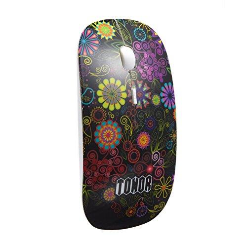 """TONOR bunt lautlos dünn slim schlank Bluetooth 3.0 kabellos wireless Maus Funkmaus 800/1200/1600 DPI für PC Mac Tablet Laptop, Stil vom """"Geheimen Garten"""", ohne Klickgeräusche, Schwarz"""