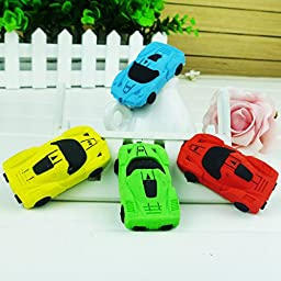 Thinkmax Office Removable Small Car Shaped Rubber Eraser Color Random 6 pcs