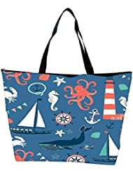 Snoogg Set Of 4 Nautical Cards Waterproof Bag Made Of High Strength Nylon