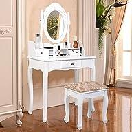 Giantex Vanity Table Jewelry Makeup Desk Bench Dresser w/ Stool 3 Drawer White