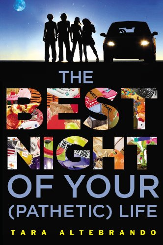 Cover image of the book The Best Night of Your Pathetic Life with four teens stand next to a car with the sun setting behind them