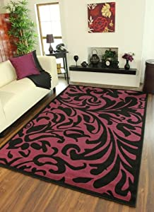 Elegant Cerise Pink and Black Damask Design Quality Rug Florence 879 - 4 Sizes by The Rug House