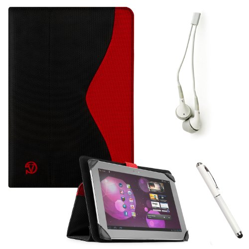 The New Soho Hard-Shell Portfolio Nylon Construction Lightweight Sturdy Stand Alone Smart Case (Red With Black) For The Apple Ipad 4Th Generation Tablet 16Gb, 32Gb, 64Gb Newest Version (Compatible With 1St, 2Nd And 3Rd Generation Apple Ipod) + Crystal Cle