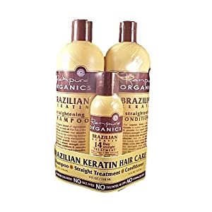 Renpure Organics Brazilian Keratin Hair Care Pack - Shampoo, Conditioner, Straightening Treatment