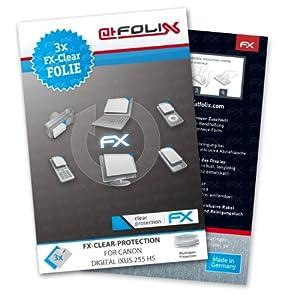 atFoliX FX-Clear Protection d'écran pour Canon Digital IXUS 255 HS (3 pièces) - protection d'écran ultra-claire!