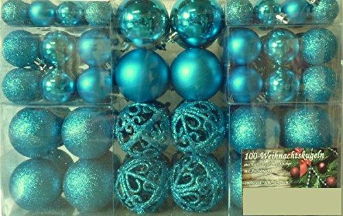 100-Weihnachtskugel-Trkis-glnzend-glitzernd-matt-und-100-Metallhaken-Christbaumschmuck-bis--6-cm-Baumschmuck-Weihnachten-Deko-Anhnger