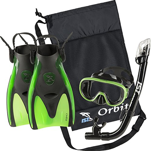 IST Orbit Snorkel Set (Black Silicon/Green, Small (2-5))