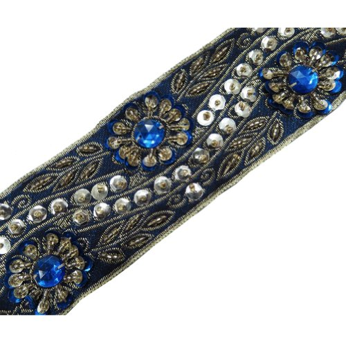 Blue Stone Gold Flowing Beaded Ribbon Trim Craft 1 Yd
