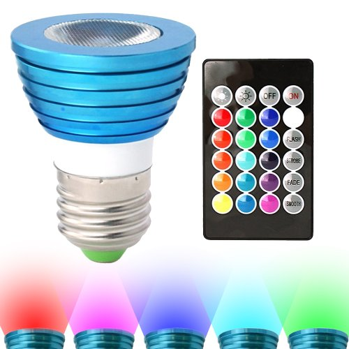HitLights RGB Multicolor LED Bulb, 3 Watt MR16/E26 - Includes Remote with 16 colors - Fits Standard Light Bulbs Socket - Great for stage, music, production and anywhere in the home (Blue Light Bulb compare prices)