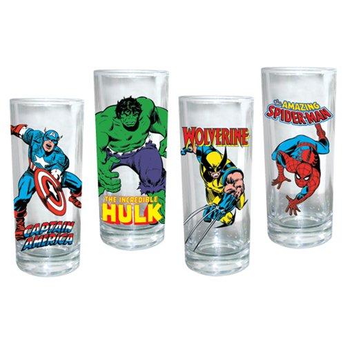 Vandor Marvel Heroes 10-Ounce Glass Set, 4 Glasses per Set, Multicolored