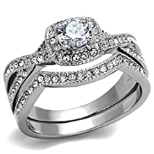 buy Womens Stainless Steel Clear Cubic Zirconia Eternity Wedding Ring Set