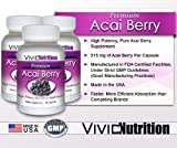 Vivid Nutrition Premium Acai (3 Bottles) - High Potency, Pure Acai Berry Supplement. The All-Natural Diet, Weight Loss, Colon Cleanse Formula