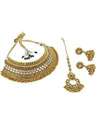 Muchmore Fully Shahi Look Choker Style Polki Bridal Necklace Set For Women Jewelry