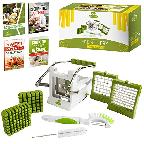 Chef's Path French Fry Potato Cutter Bundle:Potato French Fries/Vegetable Slicer-Chipper 2-size SS Blades Suction Base,Bonus 3in1Peeler/Eye Picker/Fruit-Vegetable Brush & Cleaning Brush,Free E-Books (Multi Soap Cutter compare prices)