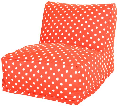 Majestic Home Goods Ikat Dot Bean Bag Chair Lounger, Orange