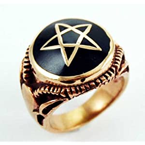 Solid Bronze Chunky Pentagram  Pentacle Ring In UK Approx Size: P-Q