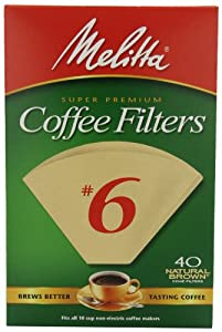Melitta Cone Coffee Filters, Natural Brown, No. 6, 40-Count Filters (Pack of 12) by Melitta