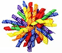 Primary Colors Rainbow Polka Dots Curly Ribbon Korker Hair Clip