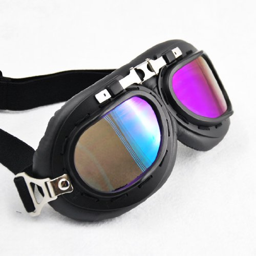 WWII RAF Design Black Chrome Frame UV Protect Biker Eye Protect Motorcycle Motorbike ATV Bike Bicycle Half Helmet Face Mask Head Band Goggle Sunglasses