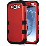 S3 Case, Galaxy S3 Case - ULAK 3in1 Hybrid Best Impact Shockproof Rugged Rubber Combo Hard Case for Galaxy S3 Shock-Absorption / Impact Resistant Slim 3 Layer [Rigid Plastic + Soft Silicone] Case Cover for Samsung Galaxy S3 S III i9300 (Titanium Red PC+Black Silicone)