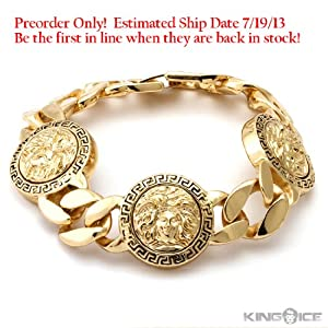 Gold Plated 3 Medallion Medusa Curb Link Bracelet