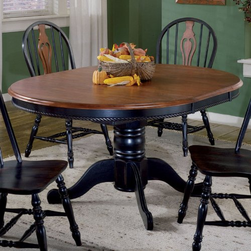 Round dining table with leaf round dining table with leaf for Black round table with leaf