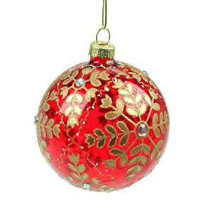 Red glass gold snowflake christmas bauble 8cm amazon Christmas bauble storage