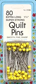Quilting Yellow Head Pin SZ 28 1 3/4in 80ct