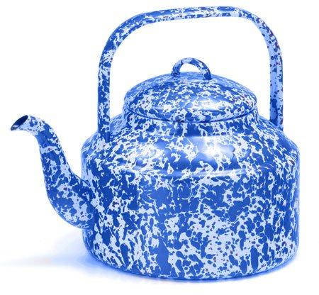 Enamelware 3 Quart Tea Kettle, Blue Marble